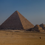 Pyramid of Menkaure at Giza, with three smaller Queens' Pyramids.