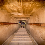 Tunnel leading to the tomb inside the pyramid at Saqqara.