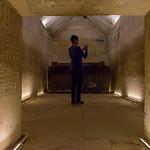Sarcophagus in the tomb inside pyramid of Saqqara.